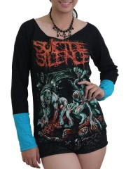 Suicide Silence Metal Rock DIY Raw Edge Lace Sleeves Off Shoulder Top M