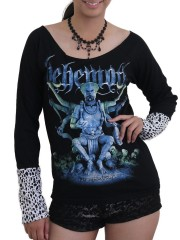 Behemoth Death Metal Rock DIY Raw Edge Lace Sleeves Off Shoulder Top M