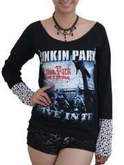 Linkin Park Heavy Metal Rock DIY Raw Edge Lace Sleeves Off Shoulder Top M