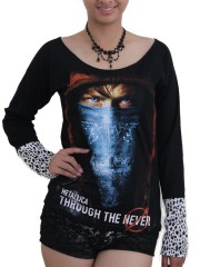 Metallica Metal Rock DIY Raw Edge Lace Sleeves Off Shoulder Top M