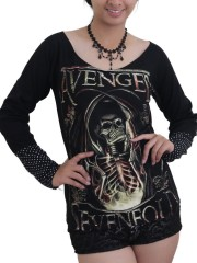 Avenged Sevenfold Heavy Metal  DIY Raw Edge Lace Sleeves Off Shoulder Top M