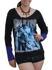 Cradle Of Filth Black Metal Rock DIY Raw Edge Lace Sleeves Off Shoulder Top M