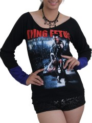 Dying Fetus Death Metal DIY Raw Edge Lace Sleeves Off Shoulder Top M