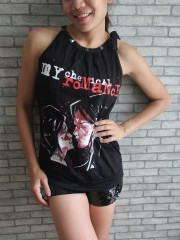 My Chemical Romance Punk Rock Band DIY Women Tie Neck Sleeveless TankTop