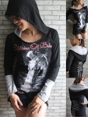 Children Of Bodom Black Metal Rock DIY Funky Corset Hoodie Top Shirt