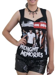 One Direction Pop Dance  DIY Sexy Pentagon Neckline Tee Top
