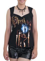Opeth Goth Metal Rock DIY Sexy Pentagon Neckline Tee Top