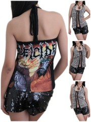 Deicide Metal Punk Rock DIY Brown Leopard Corset Top S/M