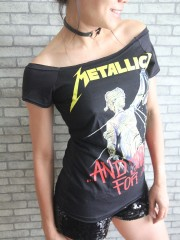 Metallica Metal Rock DIY Black Raw Edge Off Shoulder Top