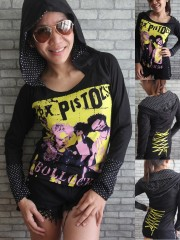 Sex Pistols Punk Rock DIY Funky Corset Hoodie Top Shirt