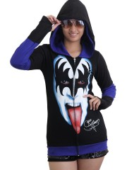Kiss Hard Punk Rock  DIY Funky Hoodie Zip Up Jacket Top