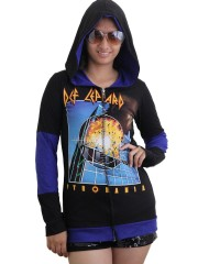 Def Leppard Heavy Rock  DIY Funky Hoodie Zip Up Jacket Top