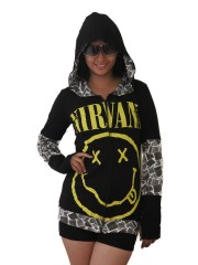 Nirvana Kurt Cobain Grunge DIY Funky Zip Hoodie Jacket Top Shirt