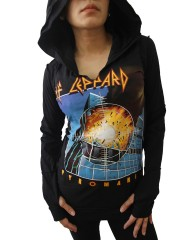 Def Leppard Heavy Rock DIY Zombie Thumbhole Reverse Stitch Pullover Hoodie Top Shirt