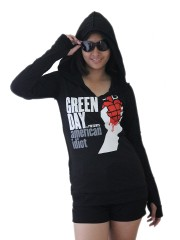 Green Day Metal Punk Rock DIY Zombie Thumbhole Reverse Stitch Pullover Hoodie Top Shirt
