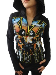 Kiss Hard Punk Rock DIY Zombie Thumbhole Reverse Stitch Pullover Hoodie Top Shirt