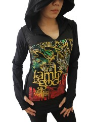 Lamb Of God  LOG Metal Punk Rock DIY Zombie Thumbhole Reverse Stitch Pullover Hoodie Top Shirt
