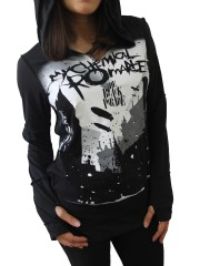 My Chemical Romance Punk Rock Emo DIY Zombie Thumbhole Reverse Stitch Pullover Hoodie Top Shirt