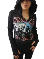 Motley Crue Heavy Metal Rock DIY Zombie Thumbhole Reverse Stitch Pullover Hoodie Top Shirt
