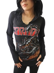 Scorpions Metal Rock DIY Zombie Thumbhole Reverse Stitch Pullover Hoodie Top Shirt