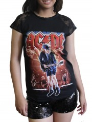 AC/DC Hard Metal RockDIY Womens Gothic Lace Sleeve Top Tee Tshirt
