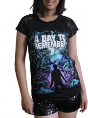 A Day To Remember Metal Punk Rock DIY Womens Gothic Lace Sleeve Top Tee Tshirt