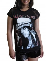 Alice Cooper Metal Rock DIY Womens Gothic Lace Sleeve Top Tee Tshirt