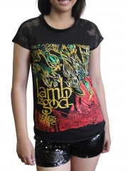 Lamb Of God  LOG Metal Punk Rock DIY Womens Gothic Lace Sleeve Top Tee Tshirt