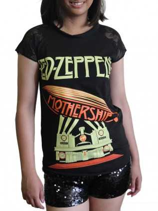 Led Zeppelin Metal Rock DIY Womens Gothic Lace Sleeve Top Tee Tshirt