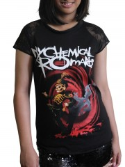 My Chemical Romance Punk Rock Emo DIY Womens Gothic Lace Sleeve Top Tee Tshirt