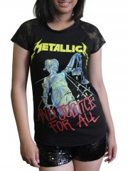 Metallica Metal Rock DIY Womens Gothic Lace Sleeve Top Tee Tshirt