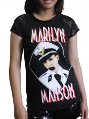 Marilyn Manson MM Metal Rock DIY Womens Gothic Lace Sleeve Top Tee Tshirt