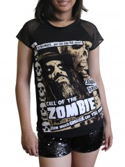 Rob Zombie Horror Punk Rock DIY Womens Gothic Lace Sleeve Top Tee Tshirt