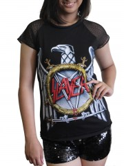 Slayer Metal Punk Rock DIY Womens Gothic Lace Sleeve Top Tee Tshirt