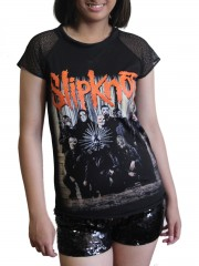 Slipknot Heavy Metal Rock DIY Womens Gothic Lace Sleeve Top Tee Tshirt