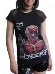 Tool Metal Rock DIY Womens Gothic Lace Sleeve Top Tee Tshirt