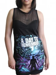 A Day To Remember Metal Rock DIY Womens Gothic Black Mesh Mini Dress Tunic Top