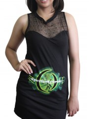 A Perfect Circle Metal Rock DIY Womens Gothic Black Mesh Mini Dress Tunic Top