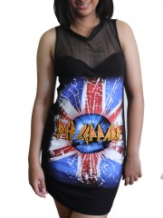 Def Leppard Corpse Metal Rock DIY Womens Gothic Black Mesh Mini Dress Tunic Top