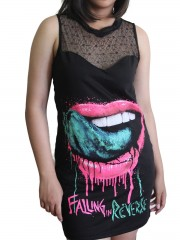 Falling in reverse Corpse Metal Rock DIY Womens Gothic Black Mesh Mini Dress Tunic Top