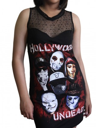 Hollywood Undead Metal Rock DIY Womens Gothic Black Mesh Mini Dress Tunic Top