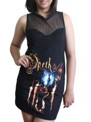 Opeth Rock DIY Womens Gothic Black Mesh Mini Dress Tunic Top