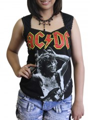 AC/DC Hard Metal Rock DIY Sexy Pentagon Neckline Tee Top