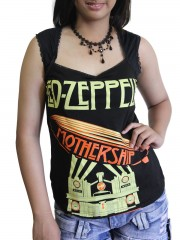 Led Zeppelin Metal Rock DIY Sexy Pentagon Neckline Tee Top