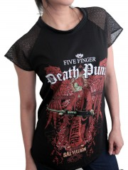 Five FingerDeath Punch Metal Rock DIY Womens Gothic Lace Sleeve Top Tee Tshirt