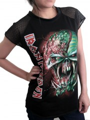 Iron Maiden Metal Rock DIY Womens Gothic Lace Sleeve Top Tee Tshirt