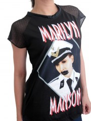 Marilyn Manson Metal Rock DIY Womens Gothic Lace Sleeve Top Tee Tshirt