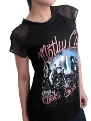 Motley Crue Metal Rock DIY Womens Gothic Lace Sleeve Top Tee Tshirt