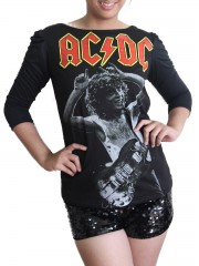 AC/DC Hard Metal Rock DIY Princess Sleeve Boat neck Tee Top Shirt