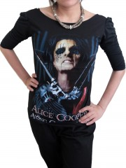 Alice Cooper Metal Rock DIY Princess Sleeve Boat neck Tee Top Shirt